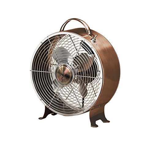 Table Fan - 10 Inch Round Retro Style Desk Fan (copper) (10 Inch Tabletop Fan)