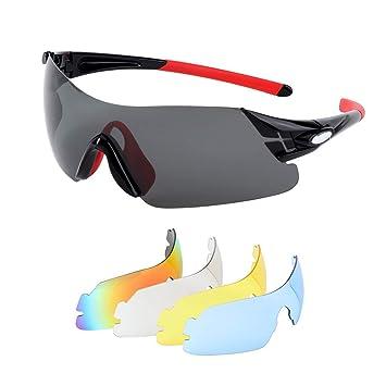 Issyzone Gafas de Ciclismo Gafas de Sol Deportivas Polarizadas UV 400 De Lentes Intercambiables para Hombre Mujer (XQ-350): Amazon.es: Deportes y aire libre