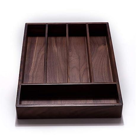 Amazon.com: Organizador de cajones de madera de pecan ...