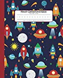 #1: Primary Composition Notebook Story Paper Journal: Dashed Midline And Picture Space School Exercise Book | 120 Story Pages | Red - Rocket (Outer Space Astronomy Series)