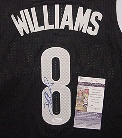cf9ee4e3b Deron Williams Brooklyn Nets Autographed Black  8 Jersey Blue Auto ...