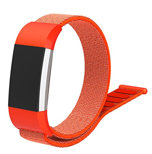 CosyZanx Compatible with Fitbit Charge 2 Bands Woven Soft Nylon Sport Wristbands for Men Women Lightweight Replacement Straps Accessories Bands for Fitbit Charge 2 Fitness Tracker (Orange)
