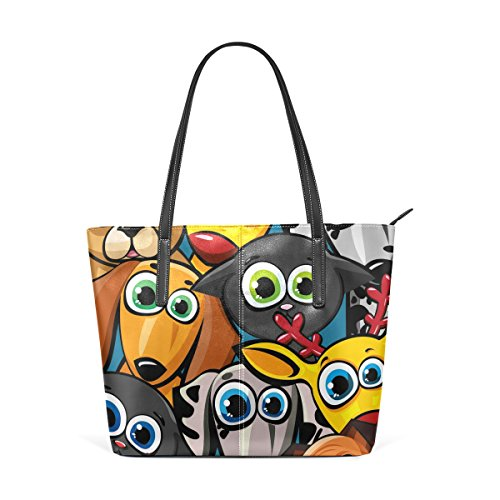 COOSUN Groupe de Funny Animaux Chiens Chats et Deer PU Sac