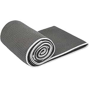 "Shandali Hot Yoga Towel Stickyfiber Yoga Towel - Mat-Sized, Microfiber, Super Absorbent, Anti-Slip, Injury Free, 24"" x 72"" - Best Bikram Yoga Towel - Exercise, and Pilates - Gray (Gray, Standard)"