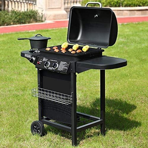 BROILUCK Barbecue à gaz sur pied 2 + 1 brûleurs Noir