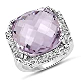 13.83 ct Genuine Pink Amethyst & White Topaz 925 Sterling Silver Engagement Ring