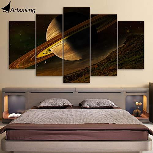 kxdrfz Quadro 5 Quadri su Tela HD Fantasy Planet Accessori Decoro Parete per Camera da Letto Poster con Cornice