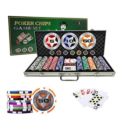 KAILE Poker Chips Set Heavy Duty 13 Gram Chips Texas Holdem Cards Game Blackjack Gambling Chips with Aluminum Case (500) ()