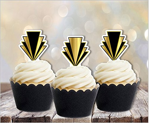 Art Deco Gatsby 1920s Edible Cupcake Toppers (Cake Flapper Topper)