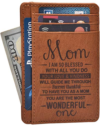 (Personalized Mothers Day Gifts From Daughter Son - Engraved Unique Happy Mother Funny Gift for Mom Credit Card Leather)