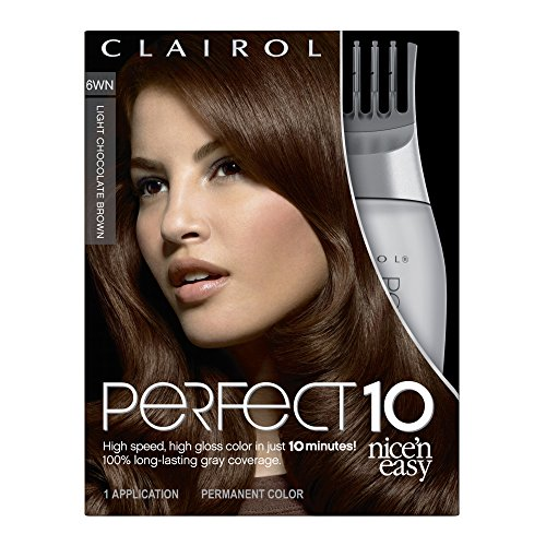 Clairol Nice 'N Easy Perfect 10 Permanent Hair Color, 6WN Light Chocolate Brown (1 Application)