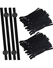 100 Pieces Sewing Elastic Mask Band with Adjustable Buckle for Adult/Children, Stretchy Face Cover Earloop Elastic String/Elastic Band for Mask DIY Making (Black, 100 PCS)