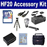 Canon HF20 Camcorder Accessory Kit includes: SDBP809 Battery, SDM-1503 Charger, KSD48GB Memory Card, ST80 Case, HDMI6FM AV & HDMI Cable, ZELCKSG Care & Cleaning, ZE-VLK18 On-Camera Lighting, GP-22 Tripod