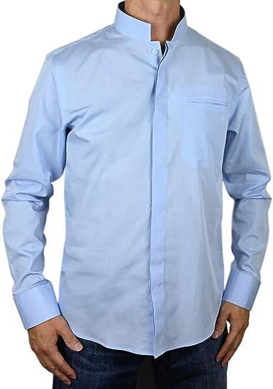Sinologie - Camisa de cuello oficial de algodón (algodón de algodón de color azul cielo)