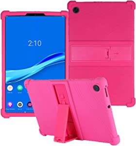 """HminSen Case for Lenovo Tab M10 FHD Plus TB-X606F TB-X606X 10.3"""" Kids Friendly Soft Silicone Shockproof Protective Adjustable Stand Cover for Lenovo Tab M10 Plus 10.3 inch (Rose)"""