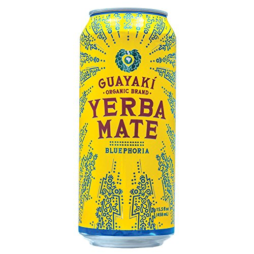 Guayaki Organic Yerba Mate Bluephoria, Blueberry & Elderberry Flower Yerba Mate Drink, Naturally Caffeinated, Made with Organic, Fair Trade and Non-GMO Ingredients, 15.5 Ounce (Pack Of 12)