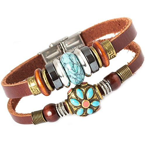 - FAIRY COUPLE Tibet Hand Crafted Coral Bead & Simulated Calaite Bead Leather Bracelet -19cm- L10