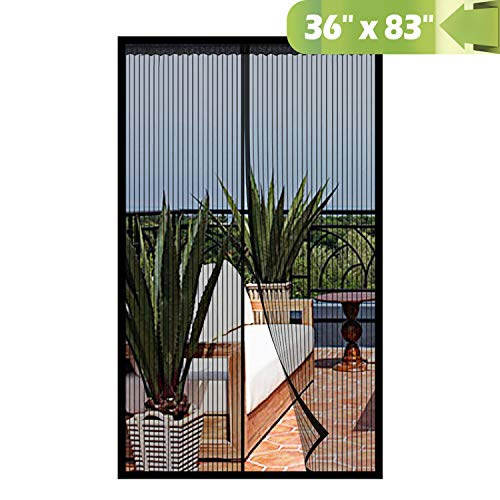 (Magnetic Screen Door 36x 83 Inch,Heavy Duty Mesh Curtain with Full Frame Hook and Loop Keep Bugs Out)