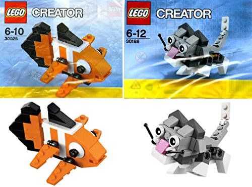LEGO Creator Mini Pets Collection 2-Set Bundle: Cute Kitten 30188 & Clown Fish 30025 (bagged)