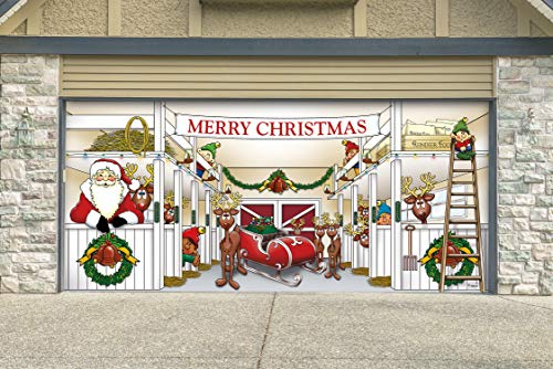 Victory Corps Outdoor Christmas Holiday Garage Door Banner Cover Mural Décoration 7'x16' - Huge Santa's Reindeer Barn Holiday Garage Door Banner Décor Sign -