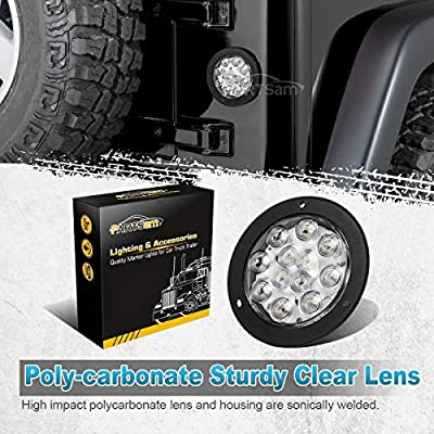 "Partsam 2PCS 4"" Waterproof Backup Reverse Light Flange Mount 12 LED Truck Trailer RV White: Automotive"