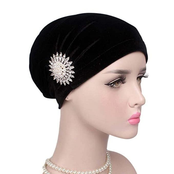 Woman Velvet Turban Fabal Pleated Hair Wrap Beanie Hat with Jewelry Brooch  Hijab Turbante (Black 4a07f2aad3c4