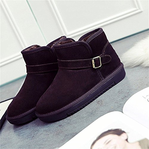 SHELAIDON Boots Leather Slippers Fur Bootie Ankle Men Snow Wool Flat Women Coffee Cow Suede THIrZwBqTx