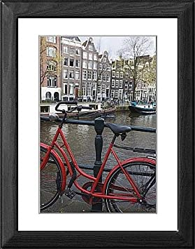 Cuadro de bicicleta roja por el canal Herengracht, Amsterdam ...