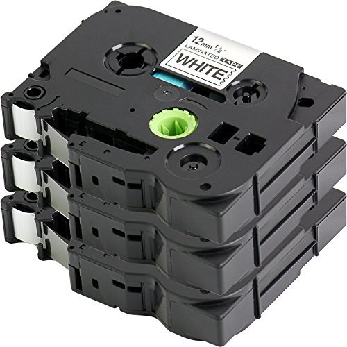 3er Set - Schriftband für Brother TZe-231 | Schwarz auf Weiß / 12mm x 8m | geeignet für Brother P-Touch 1000W 1010 1090 1830VP 2030VP 2100VP 2430PC 2470 2730VP 7100 VP7600VP H100R H300 D200VP und andere P-Touch Geräte