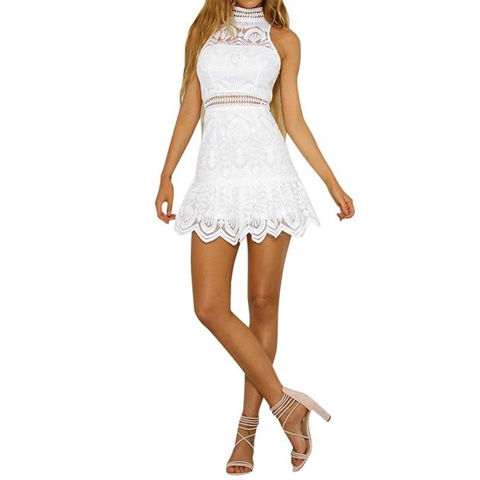 Ansenesna Vestido Fiesta Mujer Corto Largo Mini Vestidos Sin Espalda De Verano Noche Playa Tirantes (