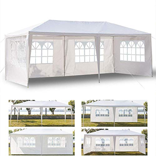 (VINGLI 10'x 20' Outdoor Canopy Wedding Party Tent w/ 4 Removable Sidewalls,Upgraded Sprial Tube Waterproof Sun Shade UV Protection Cover,Gazebo Patio Garden Beach Pool)
