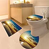 3 Piece large Contour Mat set Corridor Of Futuristic Spaceship Inside Technology Building Indoor Artwork Print Whi Bathroom Rugs Contour Mat Lid Toilet Cover