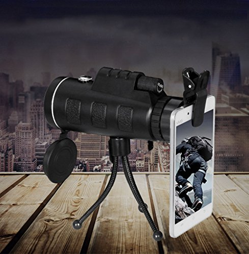 40X60 HD Monocular Night Vision Waterproof Dual Focus Optics Telescopes with Triangular Support Compass Ideal for Travel Outdoor Hunting Camping Live Concert Can Take HD Photos with Phones