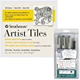 Strathmore Artist Tiles 4×4, 20 Pack, Bristol Vellum Surface 300 Series – For pattern drawing and meditative art – Pack of 20 Tiles and the Sakura Zentangle 9 Piece Set