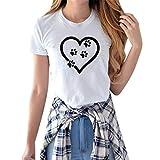 Mlide Women Summer Cute Print Footprint Tops Short Sleeve T-Shirts Blouse Casual Crewneck Tops Tee Shirts,Love White XL