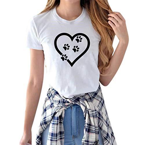 Women T-Shirt HOSOME Women Fun t-Shirt Girl Summer Casual Crewneck Tops Tee Shirts Blouse White ()