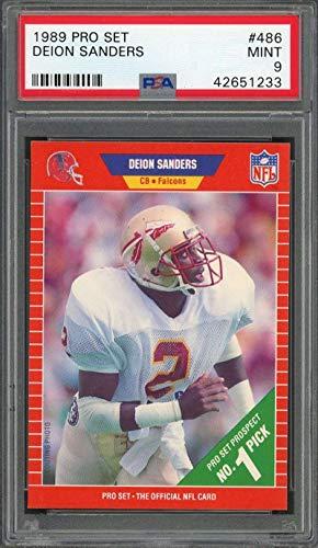 - 1989 pro set #486 DEION SANDERS atlanta falcons rookie card PSA 9 Graded Card