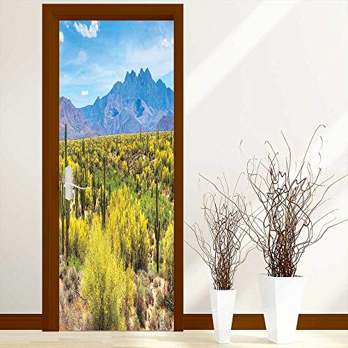 Palo Collection - L-QN Fashion Art Decor Door Sticker Decor Collection Blooming Palo Verdes and Saguaros at Four Peaks Foothills Near Phoenix for Home Decorations W38.5 x H77 inch