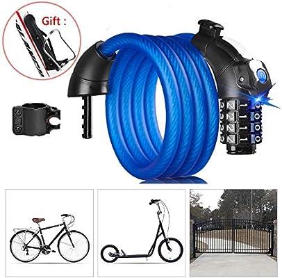 Candado Bicicleta Combinacion con 4 Dígitos,Multifuncional Candado ...