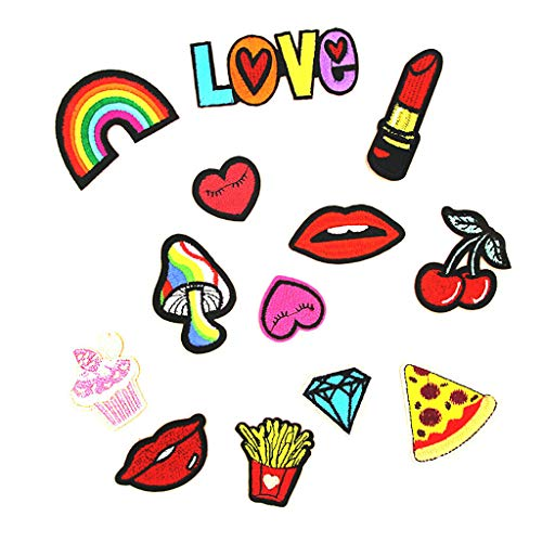 Lovely Lip Applique Badge Embroidered Sew on Clothes Patches for Kids Children | Pattern - 13pcs Love Lips