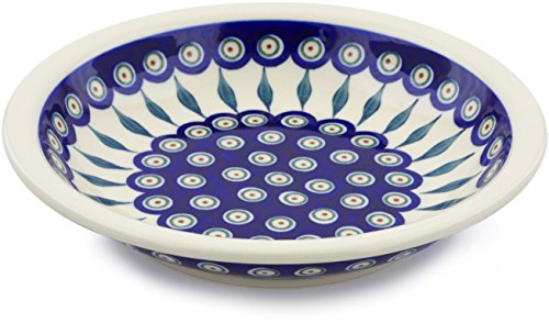 Polish Pottery 9-inch Pasta Bowl (Peacock Leaves Theme) + Certificate of Authenticity (Pottery Leaf Bowl)