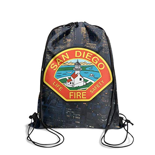 DSFSDCD San Diego Fire-Rescue Department Logo Women's Durable Athletic Drawstring Backpack Sackpack