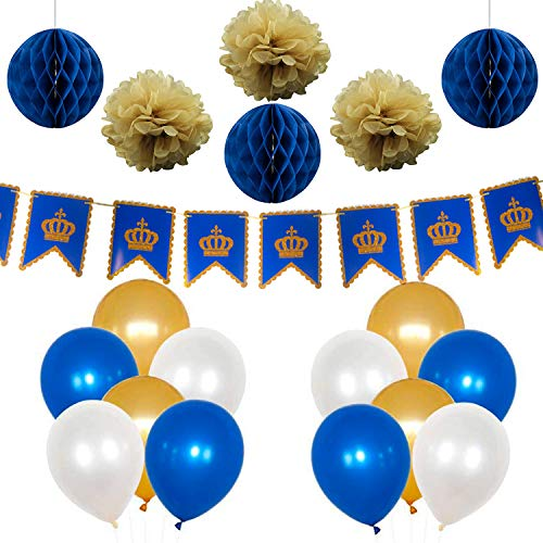 PartyWoo Blue Gold White Balloons 37 pcs 12'' Navy Blue Balloons White Balloons Gold Balloons for Navy Blue Gold Wedding, Royal King Baby Shower Including Paper Pom Poms Party -