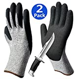Cut Resistant Gloves 2 Pairs, Non-Slip Breathable Work Gloves, Ideal for Kitchen Fishing Cutting Garden Construction Auto Restoration General Purpose -2 Pack