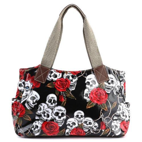 Cartoon Skull and Roses Oilcloth Shoulder Bag Canvas Strap Women Handbag (Skull Purse)
