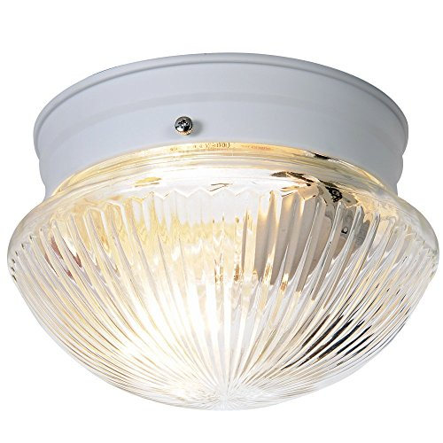 Royal Cove 671333  Ribbed Mushroom Shaped Ceiling Fixture, White, 6 In.