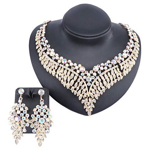 Necklace Rhinestone Ab Set - Women Bridal Rhinestone Crystal Statement Necklace Earring Wedding Dress Jewelry Sets (Gold AB)