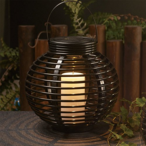 Carole4 Rattan Solar Powered LED Garden Lanterns Hanging Lights Outdoor Lanterns LED Security Lamp Warm White Decorative Garden Light Table Top(Round) by Carole4