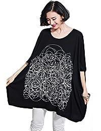 YJWAN Summer Women Plus Size Clothing Short Sleeve Soft Cotton Tunic Loose T Shirt (Black)