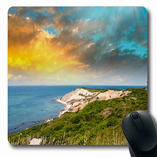 Ahawoso Mousepads for Computers USA Blue Cod Coastal Lighthouse Sunset Marthas Vineyard Ma Shore Nature Parks Green Cape Beach Head Oblong Shape 7.9 x 9.5 Inches Non-Slip Oblong Gaming Mouse Pad